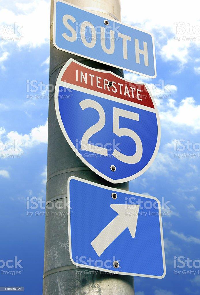 Interstate 25: Albuquerque, Santa Fe, Denver, Wyoming royalty-free stock photo