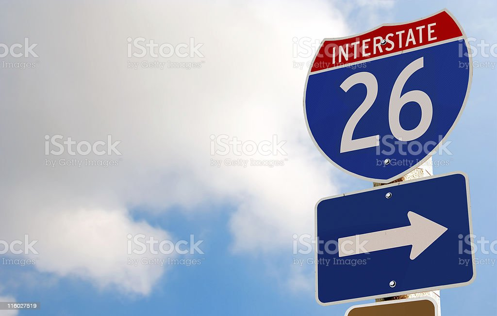 Interstate 26 Road Sign royalty-free stock photo