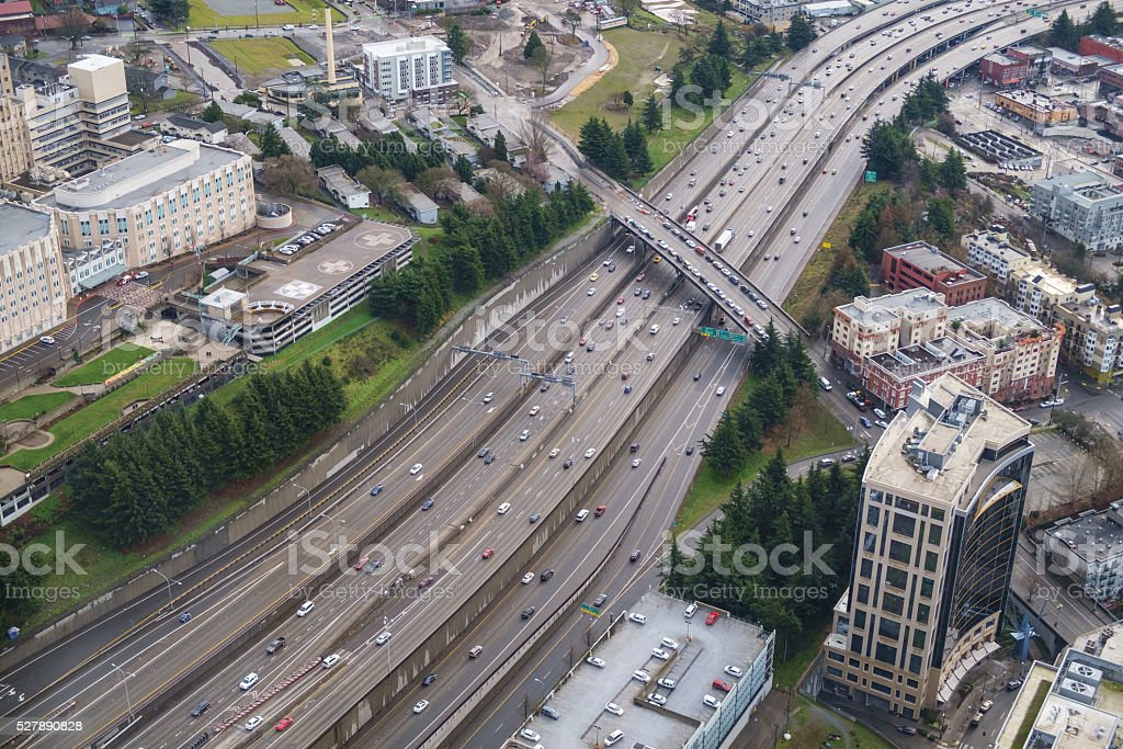 Interstate 5 and Yesler Way stock photo