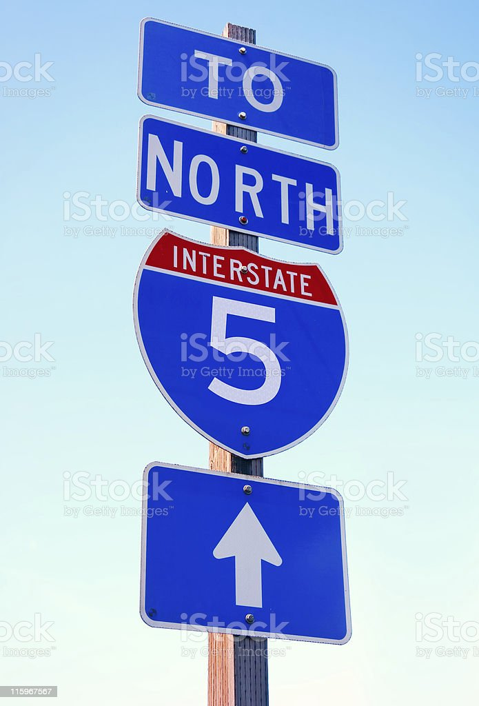 Interstate 5 Arrow Sign royalty-free stock photo