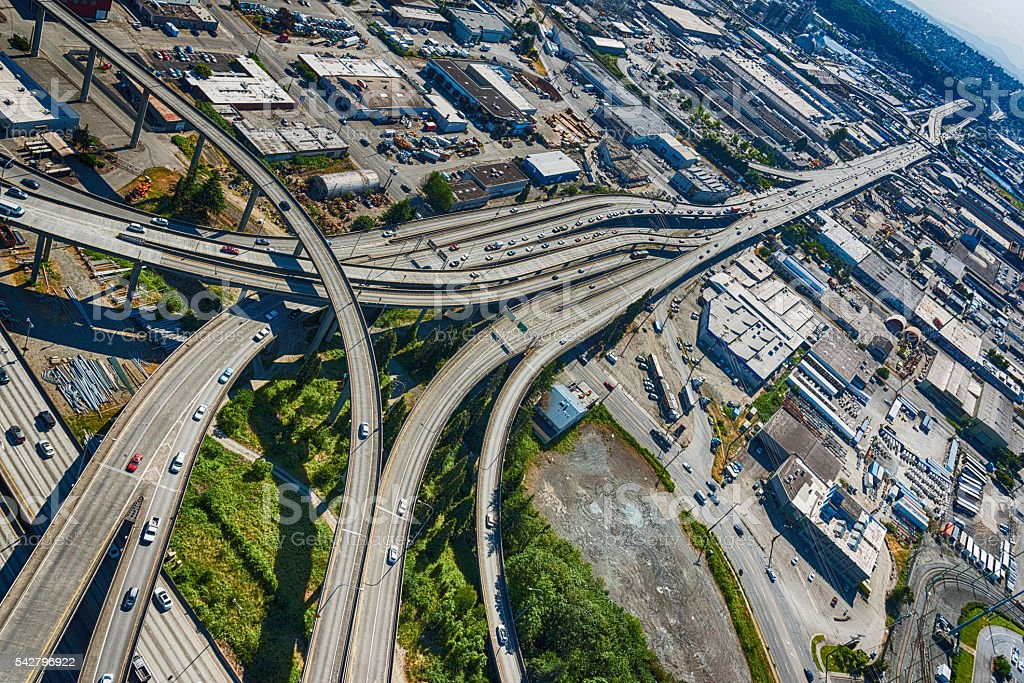 Interstate 5 Freeway Junction to West Seattle stock photo
