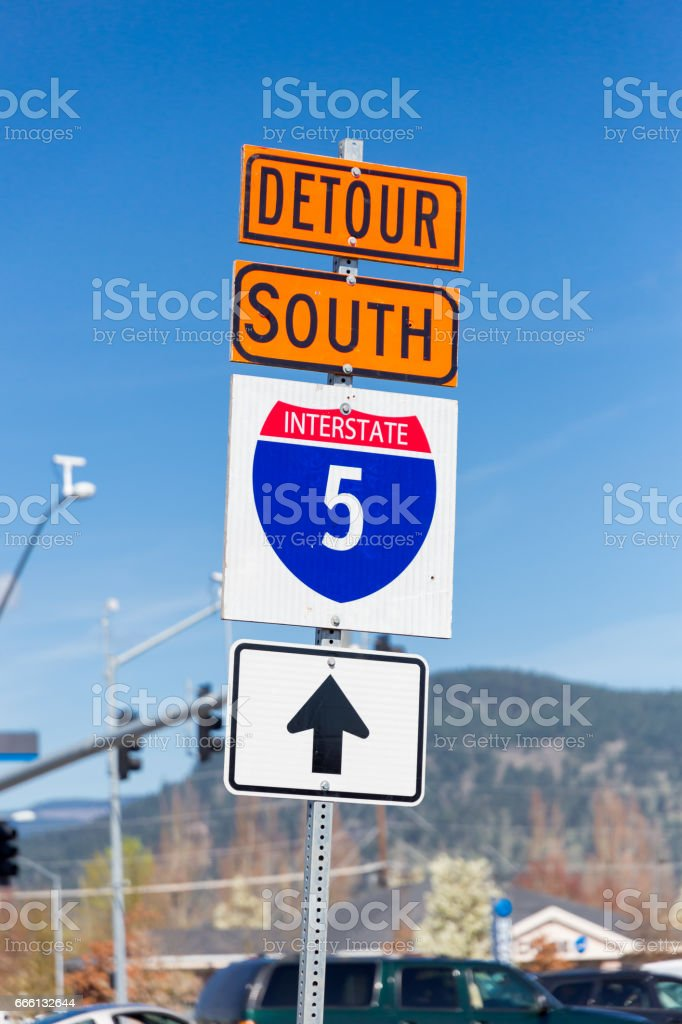 Interstate 5 South Detour Sign stock photo