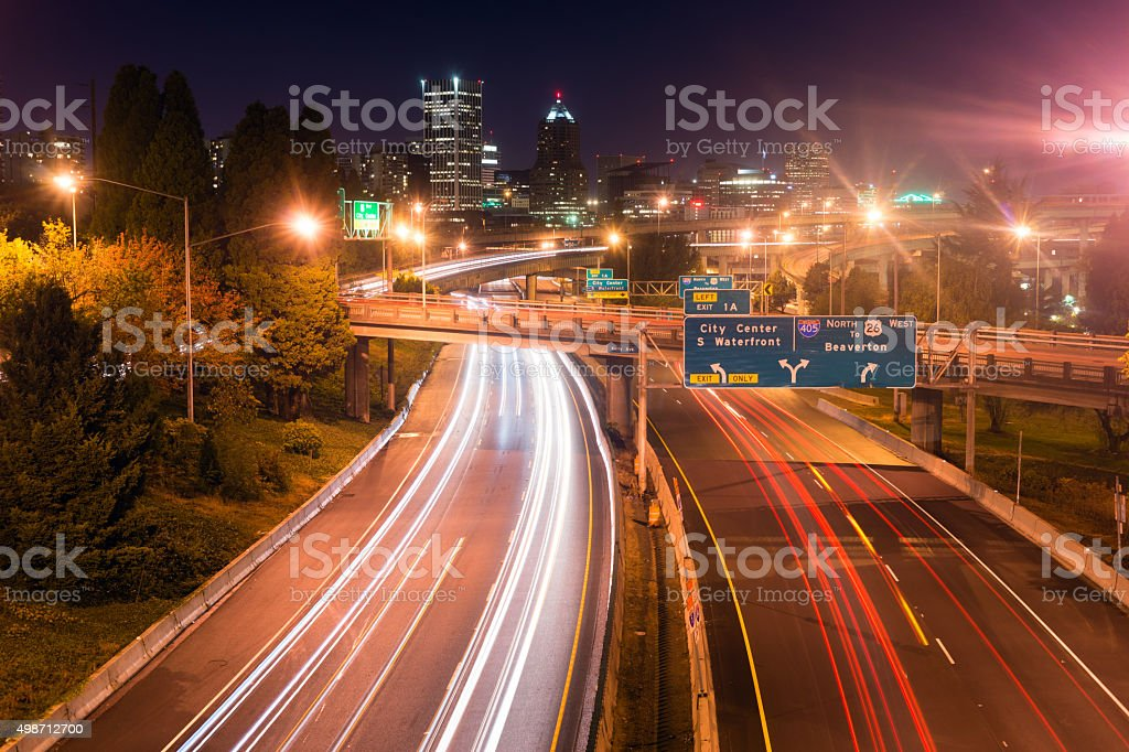 Interstate 5 Travels North Through Portland Oregon Downtown City stock photo