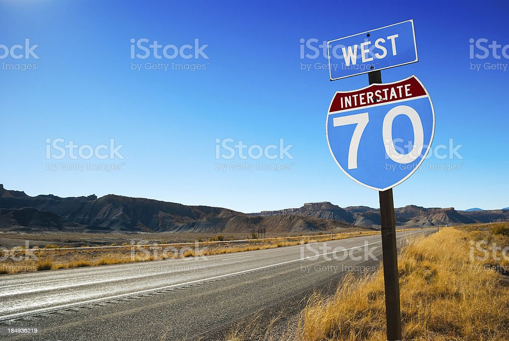 Interstate 70 going west sign royalty-free stock photo