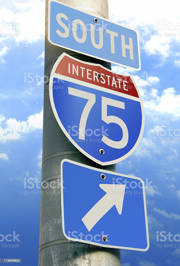 Interstate 75 Road Sign stock photo
