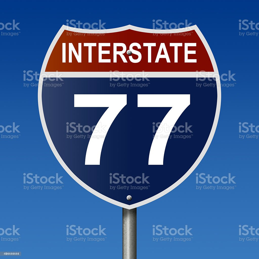 Interstate 77 highway sign stock photo