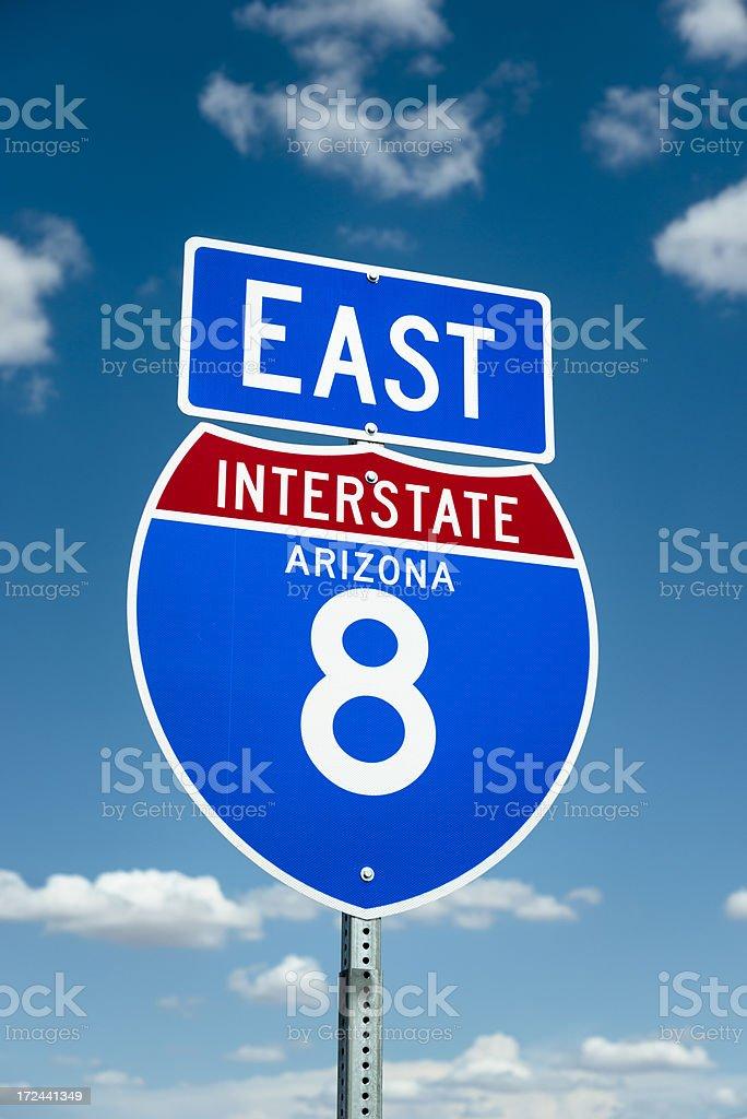 Interstate 8 East road sign on Arizona freeway royalty-free stock photo
