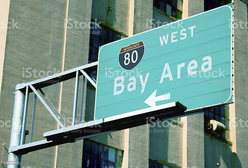 Interstate 80 Highway Sign: San Francisco Bay Area royalty-free stock photo