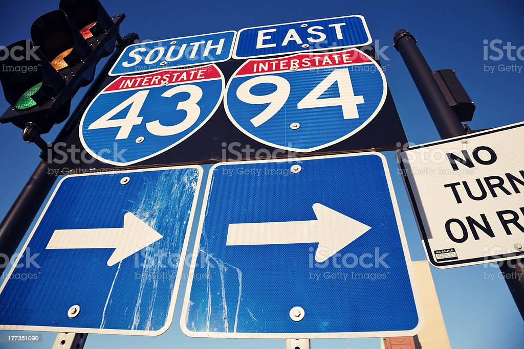 Interstate 90 and 94 stock photo