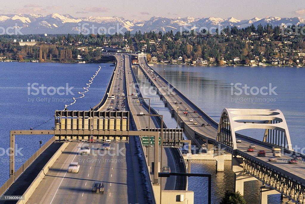 Interstate 90 bridges over Lake Washington in Seattle stock photo