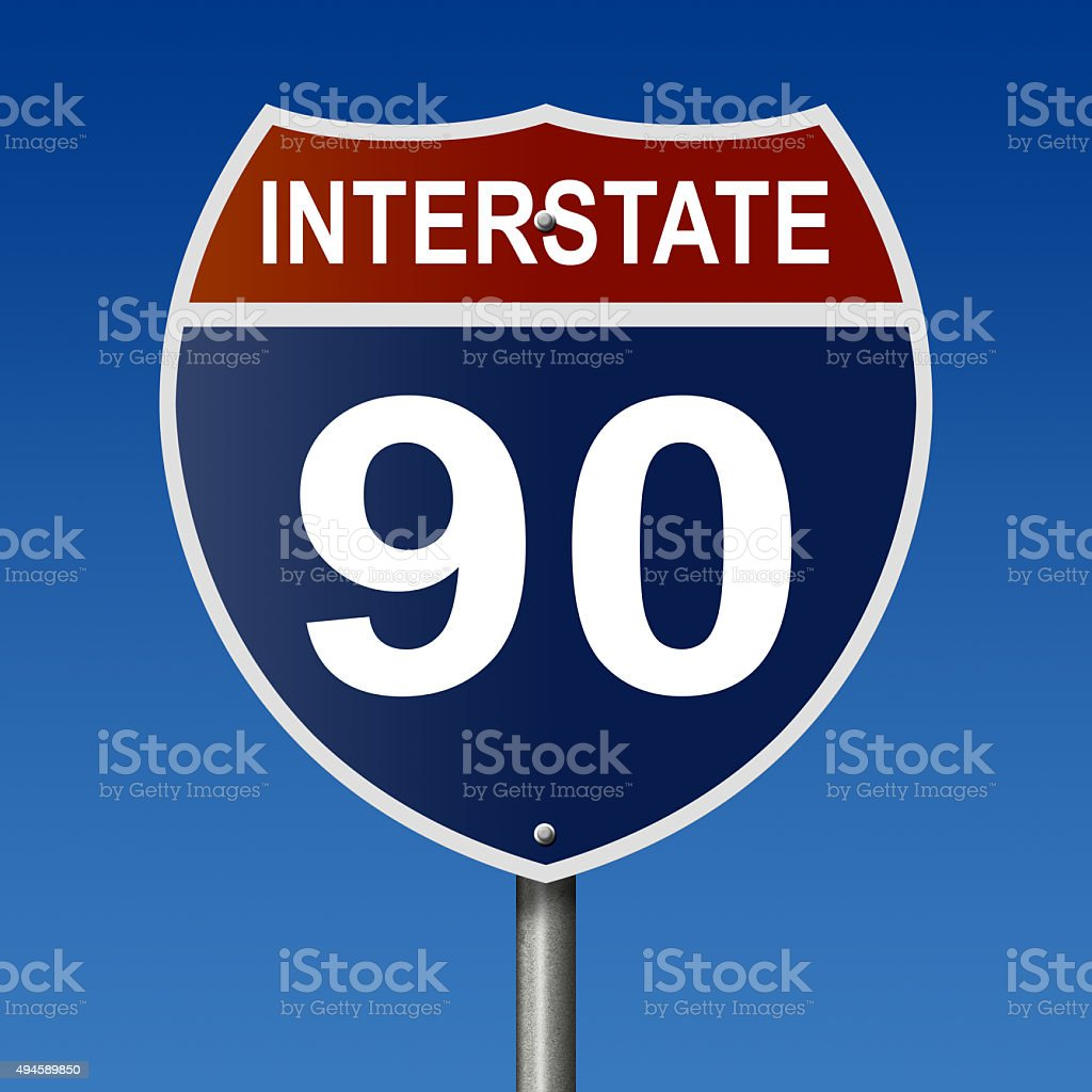 Interstate 90 highway sign stock photo
