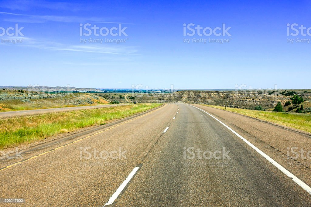 Interstate 94 highway in North Dakota stock photo