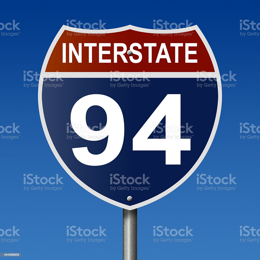 Interstate 94 highway sign stock photo