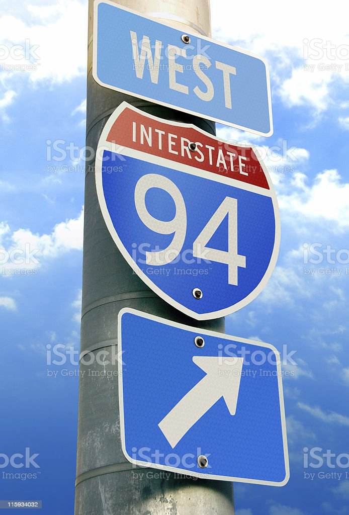 Interstate 94 Road Sign stock photo