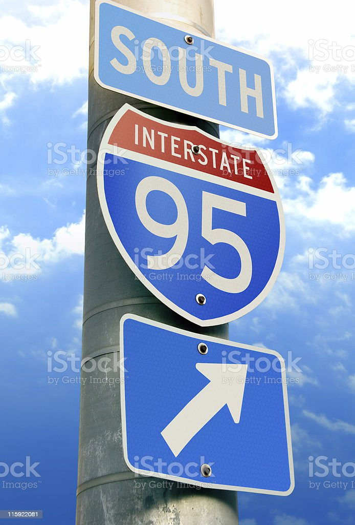 Interstate 95 Road Sign stock photo