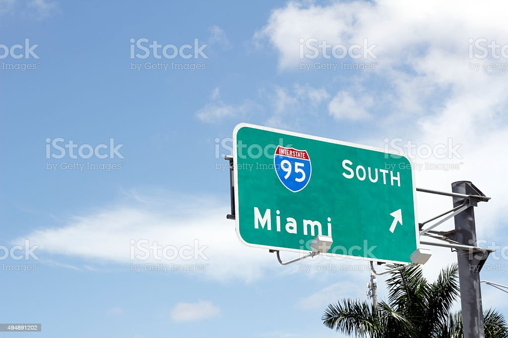 Interstate 95 South to Miami Sign stock photo