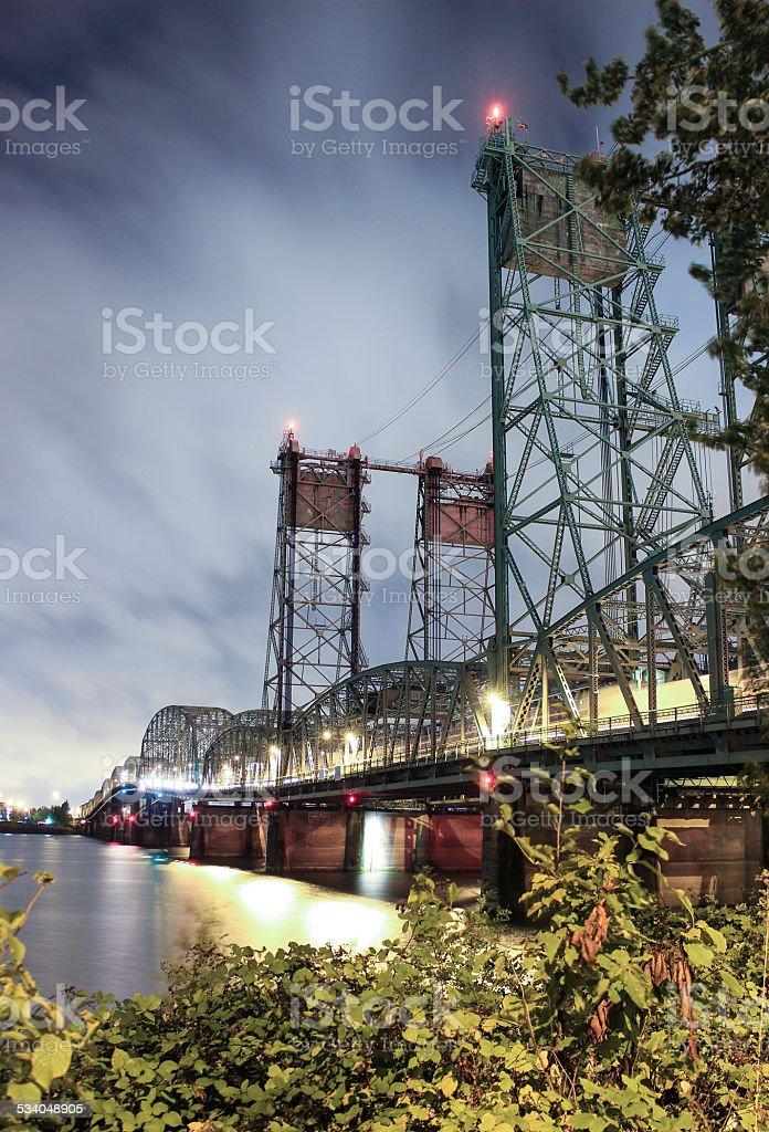 Interstate Bridge fom Vancouver Washington to Portland Oregon stock photo