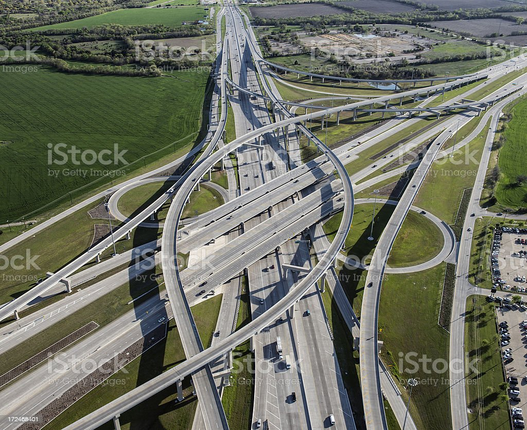 Interstate Highway and Toll Road Interchange stock photo