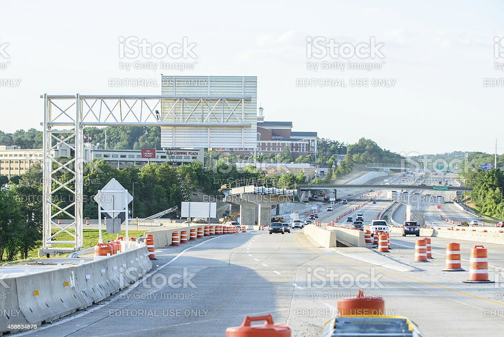 Interstate highway construction site stock photo