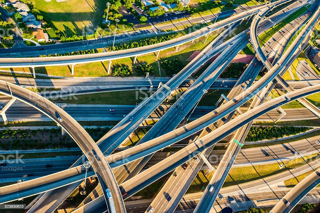 Interstate Highway Interchange I10 I410 convoluted mixmaster San Antonio aerial stock photo