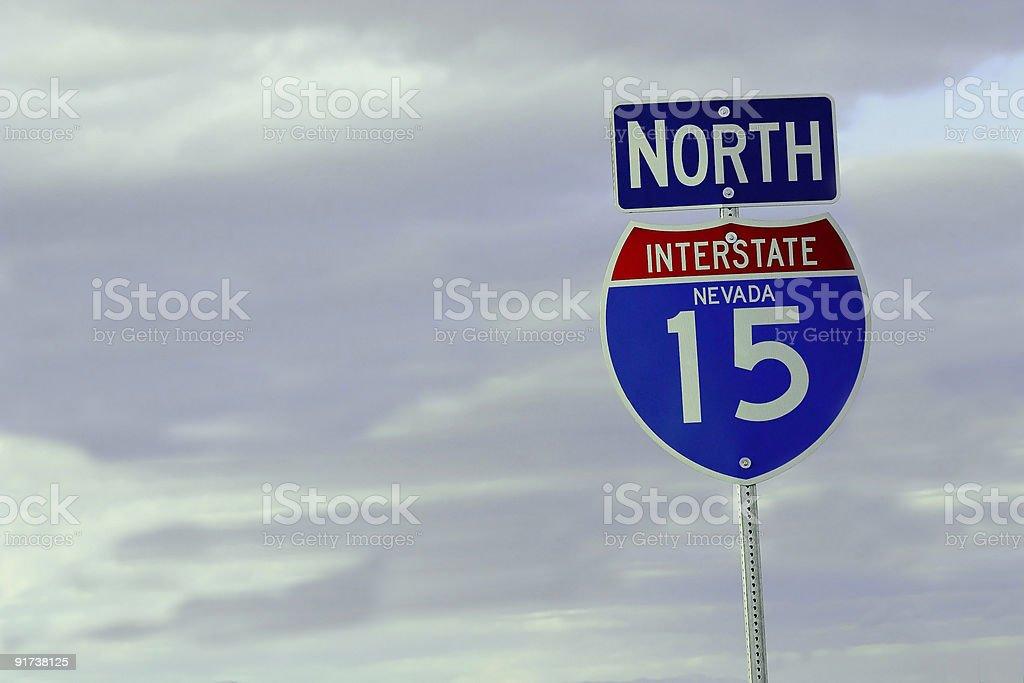 Interstate highway traffic sign stock photo