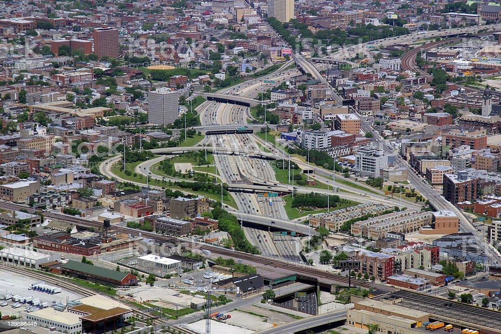 Interstate in Chicago, Illinois stock photo