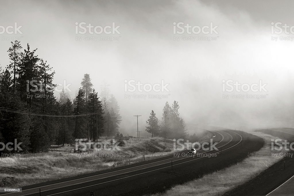 Interstate in fog royalty-free stock photo