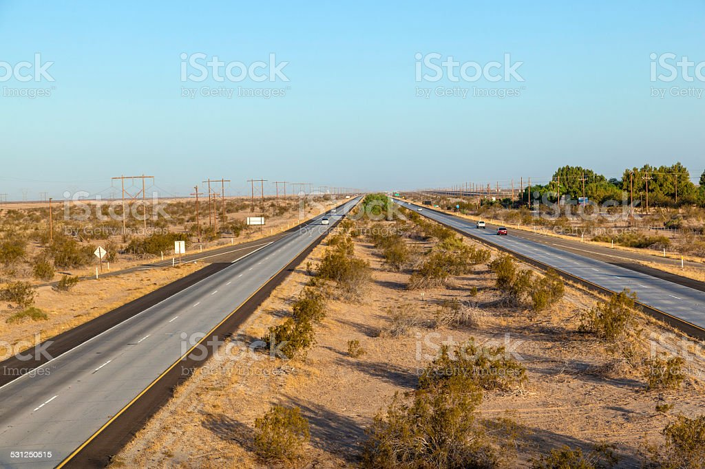 Interstate No. 8 in the morning stock photo