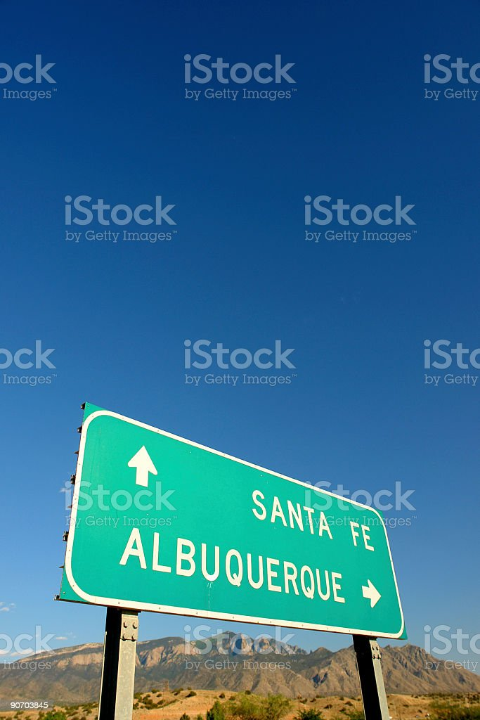 interstate road sign and desert mountain landscape royalty-free stock photo