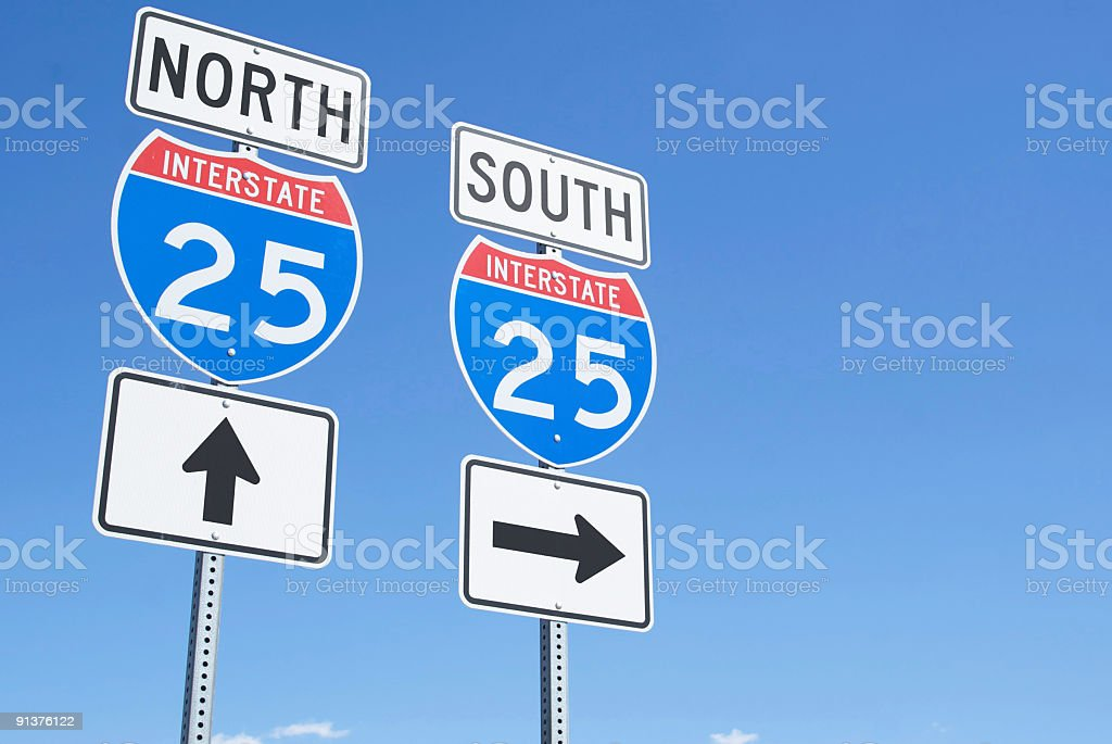 interstate road signs royalty-free stock photo