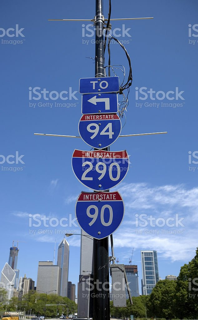 Interstate Signs and Chicago Downtown in the Background stock photo