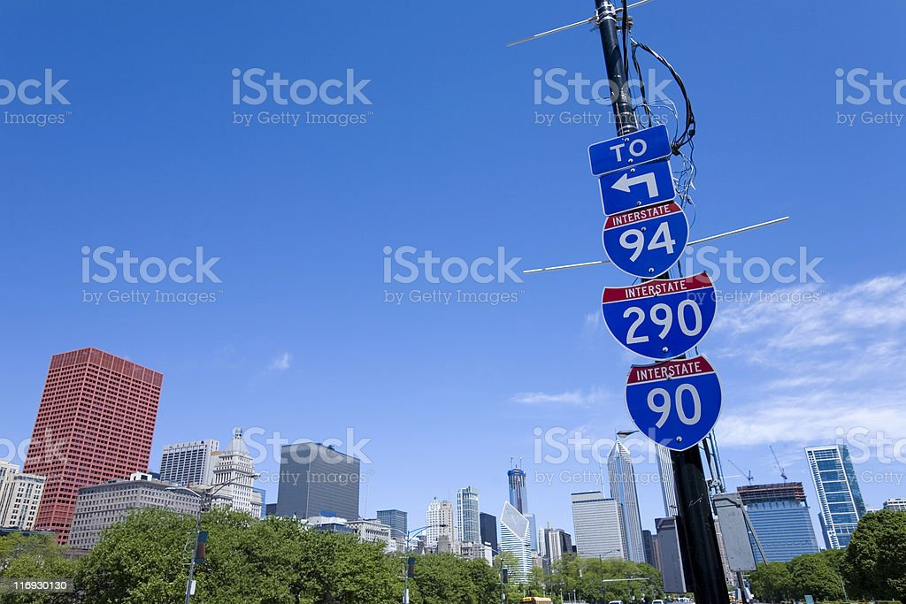 Interstate Signs in Chicago Downtown stock photo