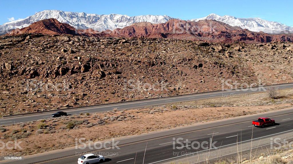 Interstate Silver Reef Red Cliffs Big Pine Mountains Leeds Utah stock photo