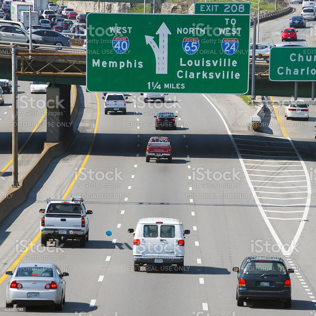 Interstate driving on I-40 in Nashville, Tennessee stock photo