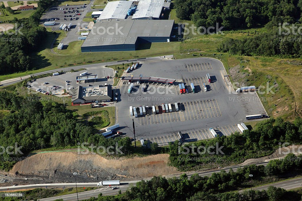 Interstate Truck Stop Aerial royalty-free stock photo