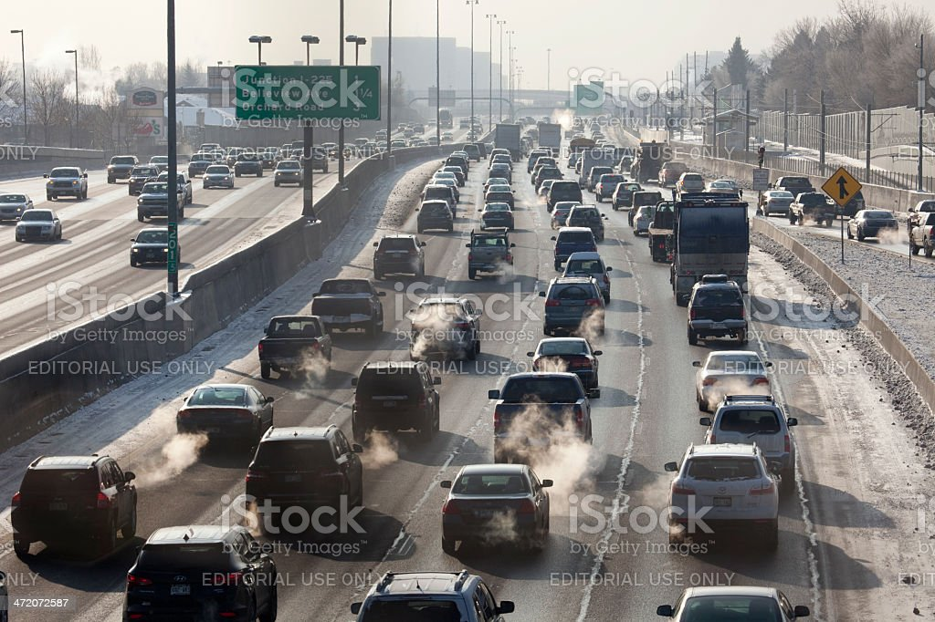 Interstate-25 traffic and exhaust fumes Denver Colorado stock photo