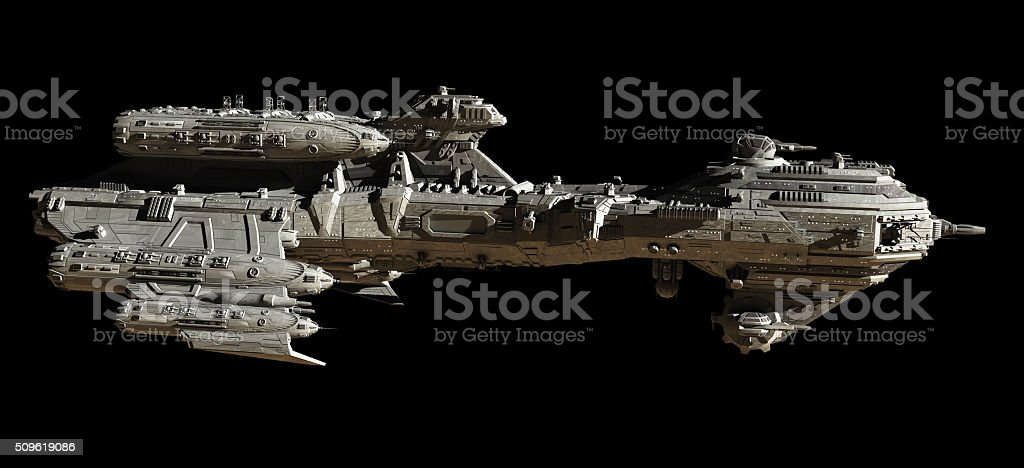 Interstellar Escort Frigate Space Ship - side view stock photo