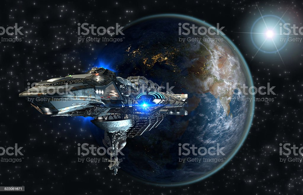Interstellar spaceship leaving Earth stock photo