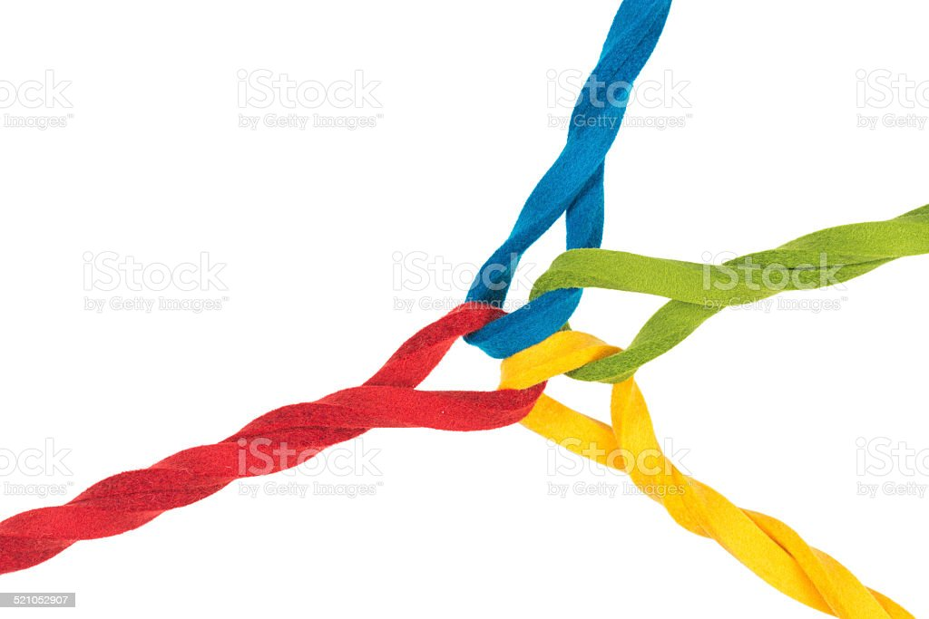 Intertwined lines close up, concept for teamwork, relationship, networking stock photo