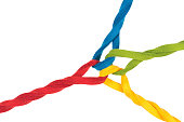 Intertwined lines close up, concept for teamwork, relationship, networking