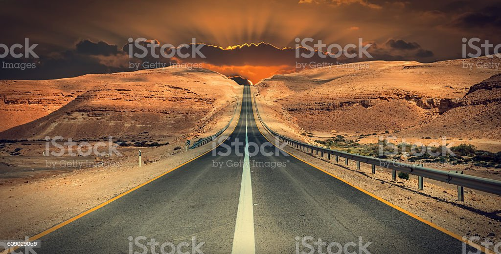 Interurban road in desert of the Negev, Israel stock photo