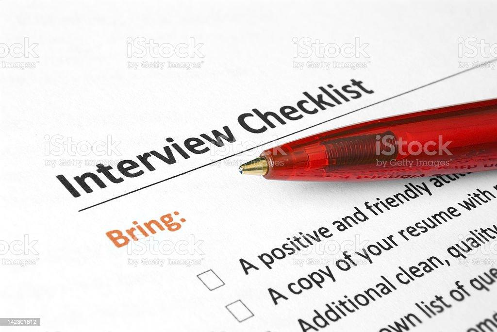 Interview Checklist stock photo