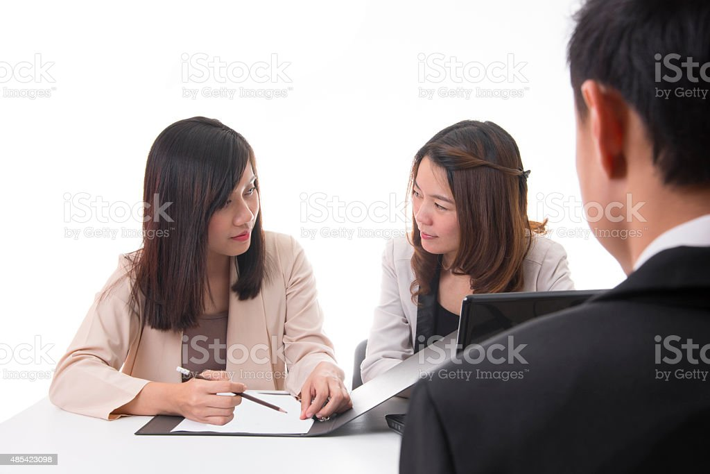 Interview Committees Talking About New Employee royalty-free stock photo