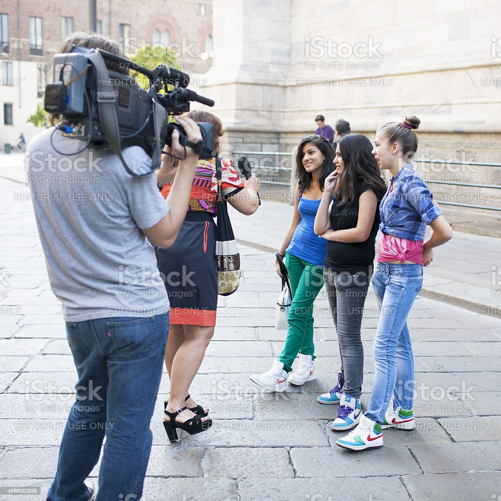 Interview in the streets of Milan stock photo