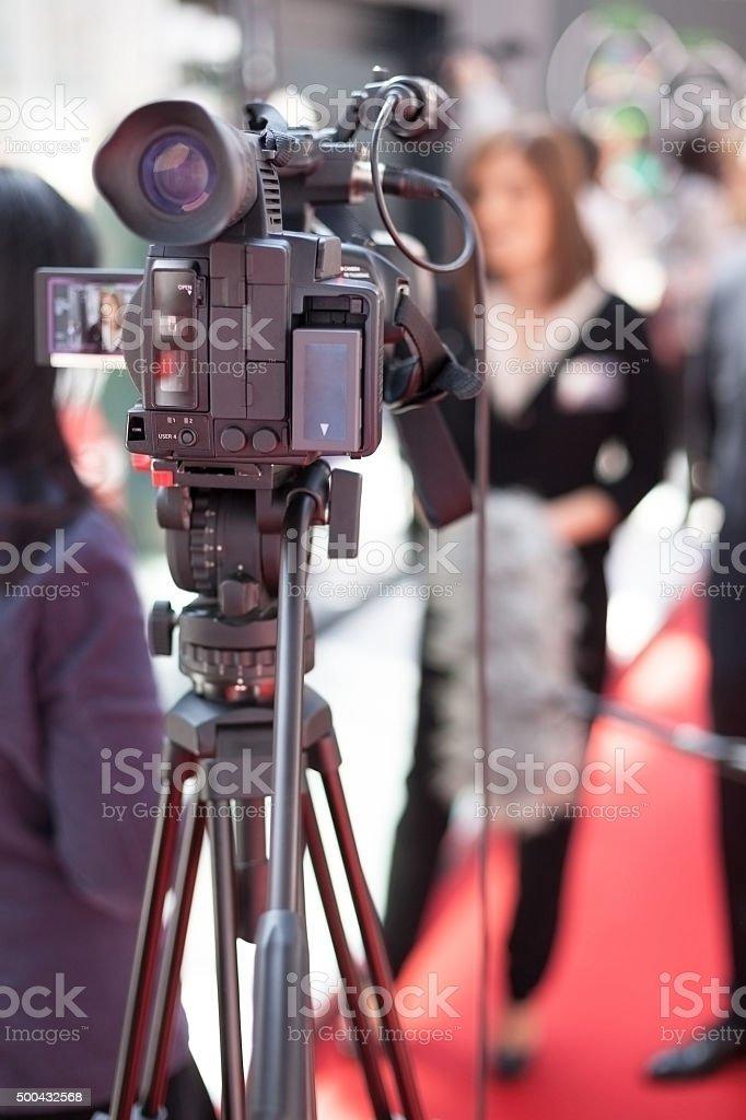 TV interview stock photo