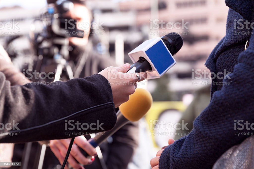 TV interview stock photo