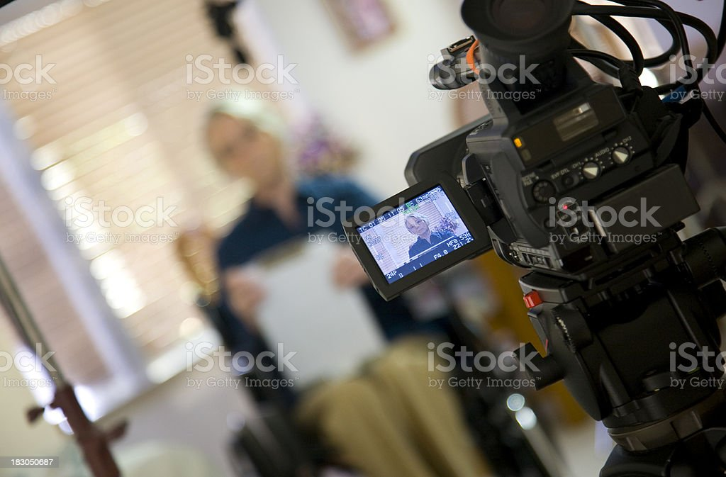 Interview woman in wheelchair stock photo