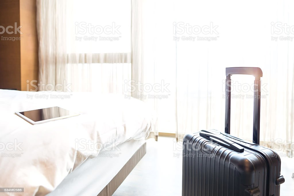 Interviews of hotel room stock photo