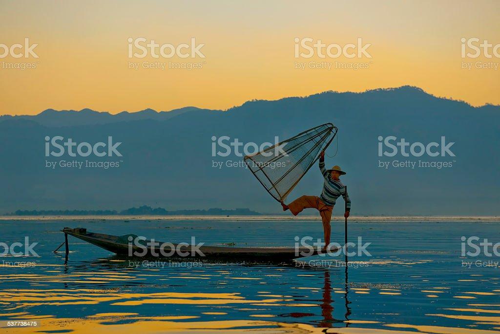 Intha Fisherman At Inle Lake stock photo
