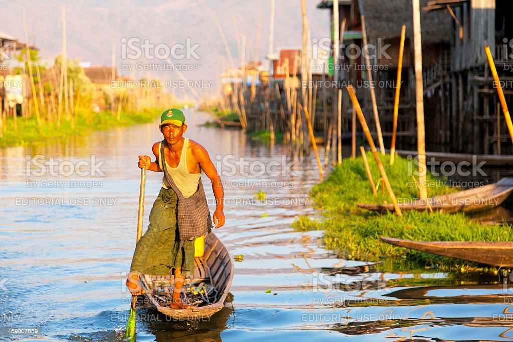 Intha Fisherman, Inle Lake, Myanmar stock photo